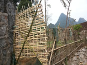 A fence made of rocks and bamboo—a typical example of utilising natural resources in Mashan